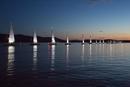 Illuminierte Bootsauffahrt